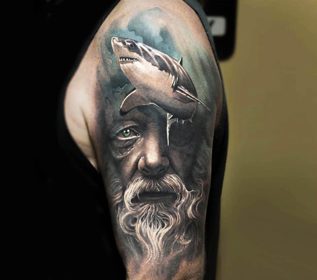 Old Man Face With Shark Tattoo By Arlo Tattoos Photo 19881