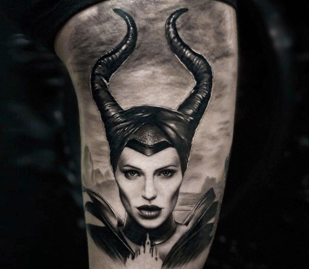 realistic Maleficent witch tattoo art Honart