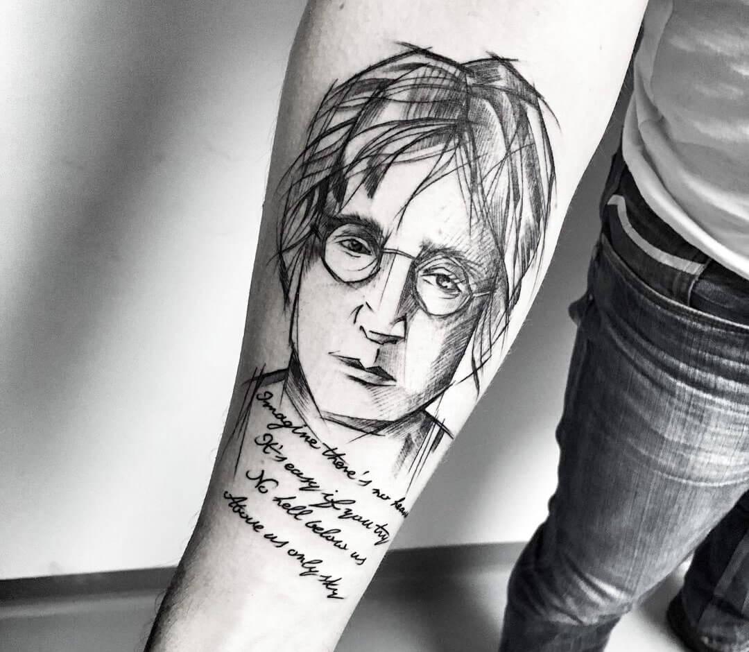 John Lennon Tattoo By Inez Janiak Photo 28660