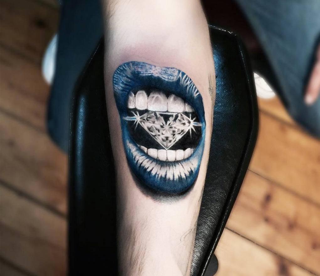 Lips With Diamond Tattoo By Jefree Naderali Photo 23767
