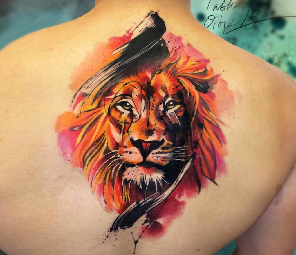 Lion King tattoo by Pablo Ortiz